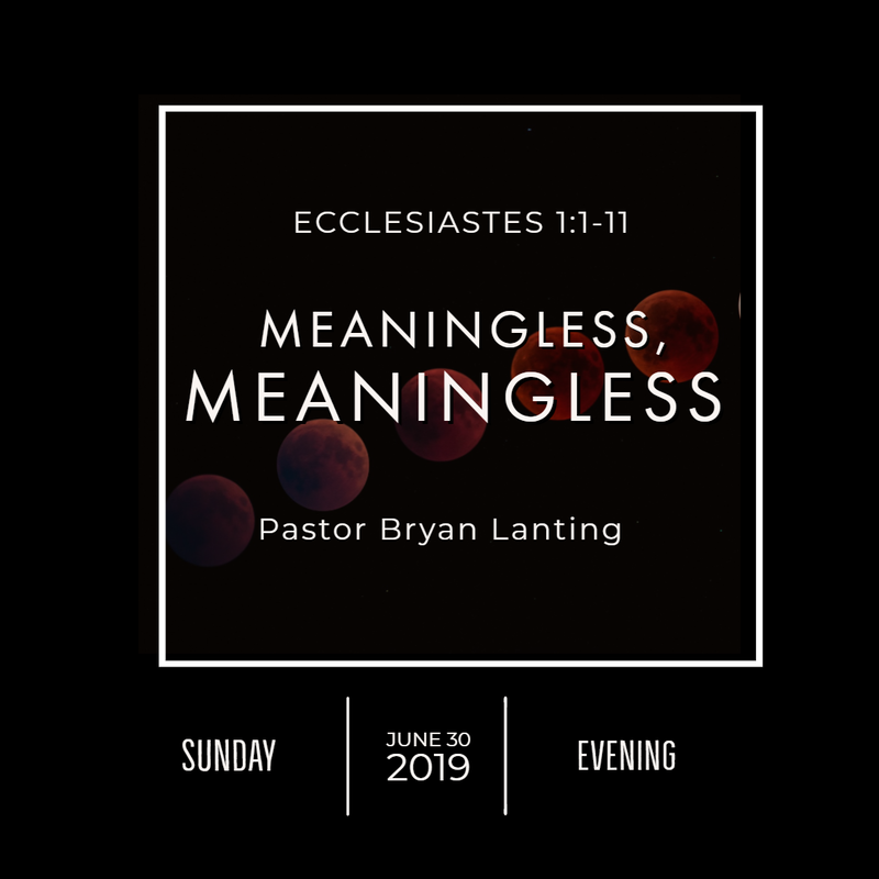 June 30, 2019  Evening Ecclesiastes 1 Meaningless, Meaningless Lanting Audio Message